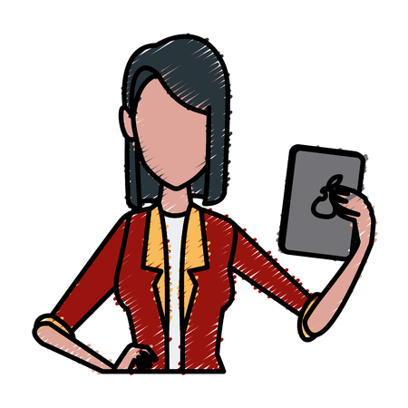 ceo office: Business woman cartoon icon vector illustration graphic design