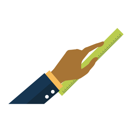 Hand with ruler icon vector illustration graphic desgin
