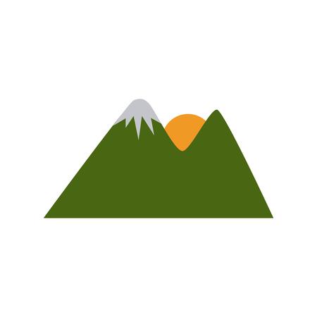 Sun in the mountains icon vector illustration graphic desgin