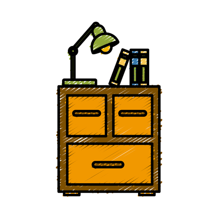 Office cabinet with light lamp icon vector illustration graphic design