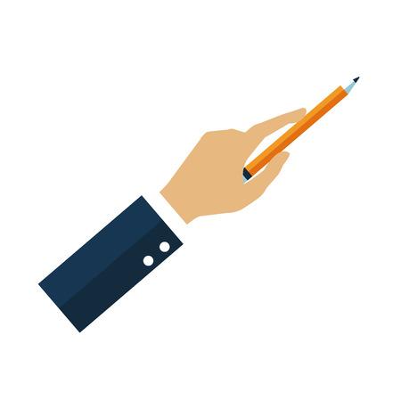 Hand holding a pencil icon vector illustration graphic desgin