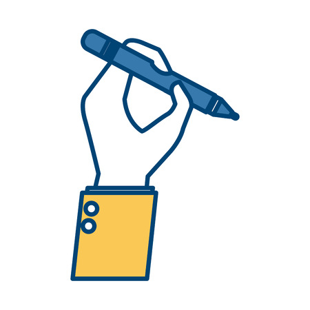 Hand holding a pen icon vector illustration graphic design Illustration