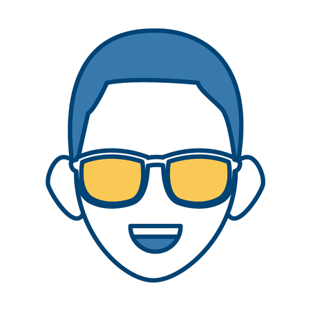 Man face with sunglasses icon vector illustration graphic design