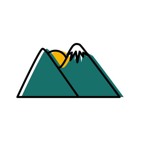 Sun in the mountains icon vector illustration graphic design Illustration