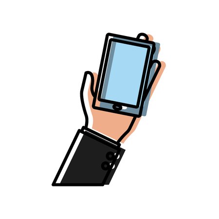 Hand holding smartphone icon vector illustration graphic design Illustration