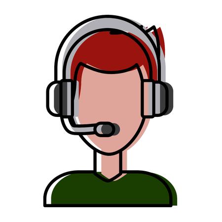 Call center man avatar icon vector illustration graphic design Illustration