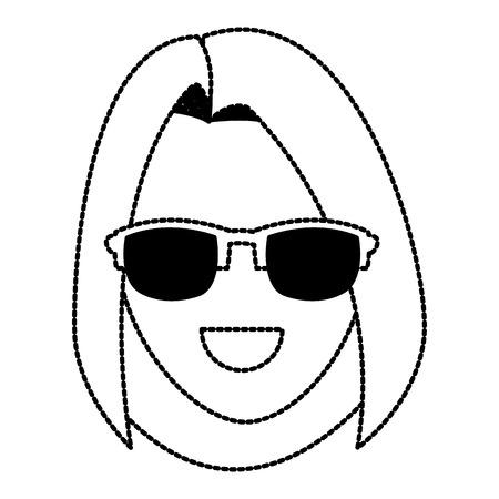 Woman with sunglasses icon vector illustration graphic design