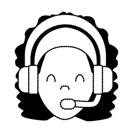 Diseño gráfico del ejemplo del vector del icono del avatar de la mujer del centro de atención telefónica