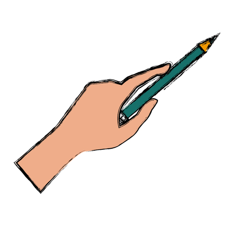 secretarial: Hand holding a pencil icon vector illustration graphic design Illustration