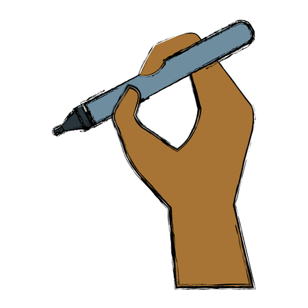 Hand holding a pen icon vector illustration graphic design Illustration