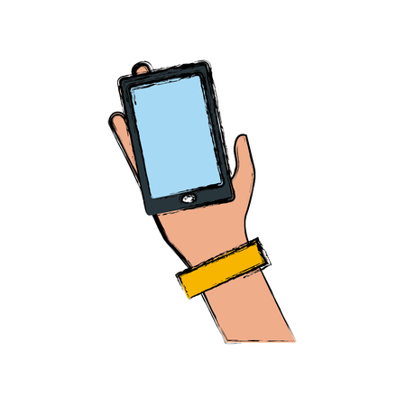 Hand holding smartphone icon vector illustration graphic design Illustration