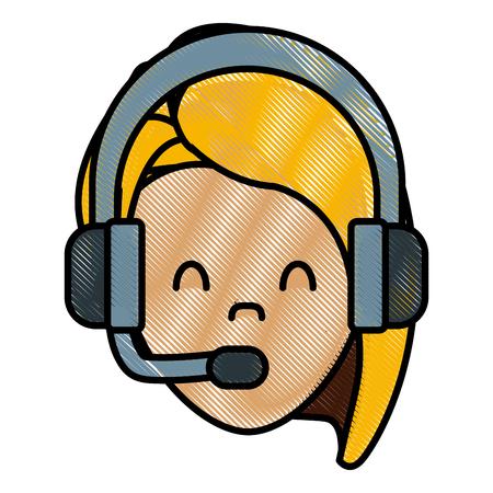 customer service phone: Call center woman avatar icon vector illustration graphic design