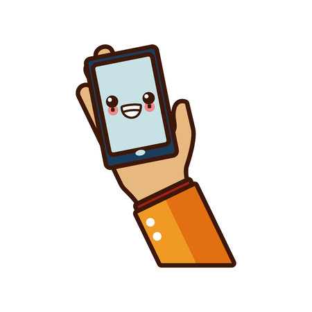 Hand holding smartphone cute  cartoon vector illustration