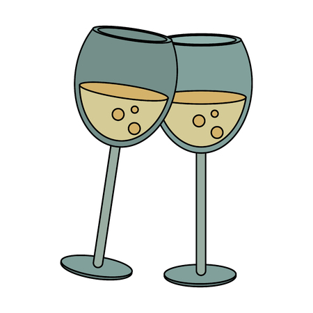 colored bottle: Champagne toast cups icon vector illustration graphic design