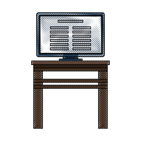Tv on desk icon vector illustration graphic design