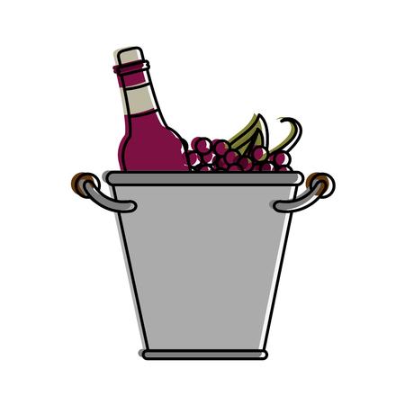 Wine bottles in ice bucket icon vector illustration graphic design Illustration