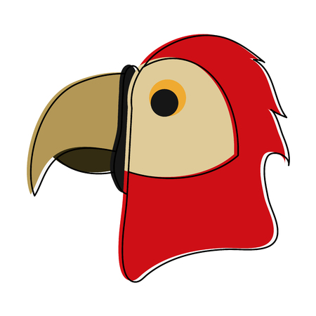 Parrot head cartoon icon vector illustration graphic design