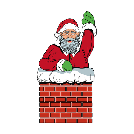 Santa claus in chimney pop art cartoon icon vector illustration graphic design Illustration