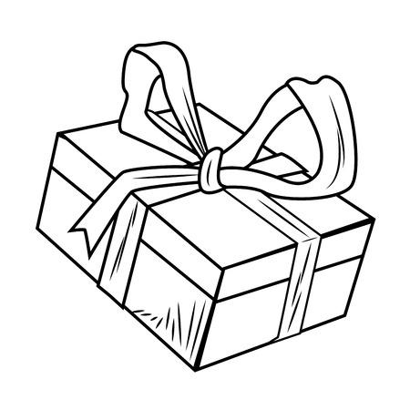 Christmas box gift pop art icon vector illustration graphic design