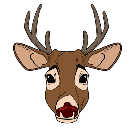 Cute reindeer cartoon icon vector illustration graphic design