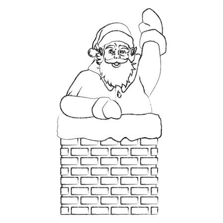 Père Noël dans la cheminée pop art dessin animé icône design graphique illustration vectorielle