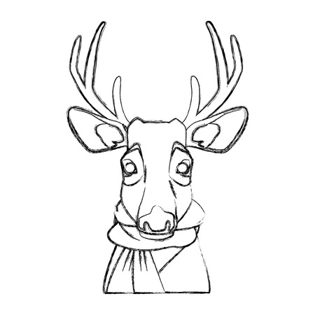 Cute reindeer with scarf cartoon icon vector illustration graphic design