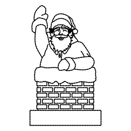 Santa claus in chimney        icon vector illustration graphic design draw