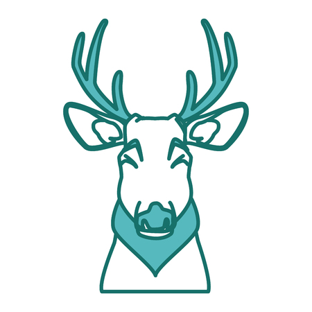 Cute reindeer  icon vector illustration graphic design draw Ilustração