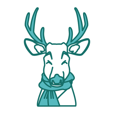 Cute reindeer with scarf  icon vector illustration graphic design draw