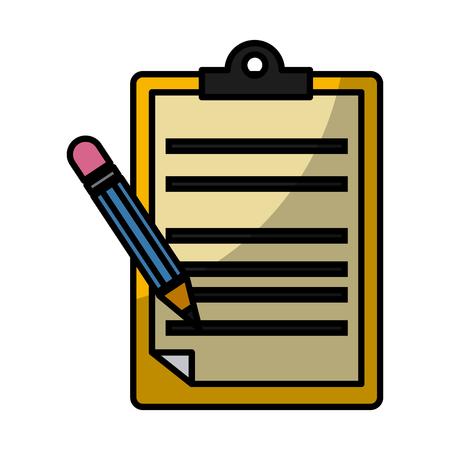 Document board with pencil icon vector illustration graphic design