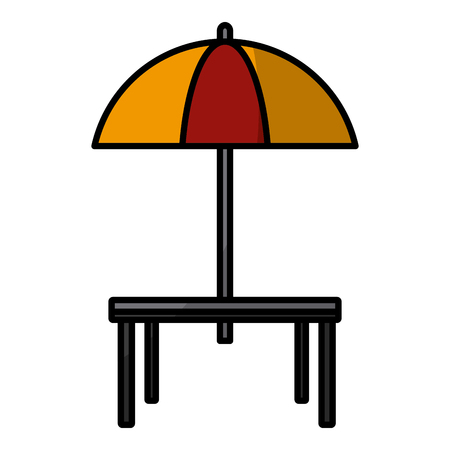 Desk and umbrella restaurant icon vector illustration graphic design