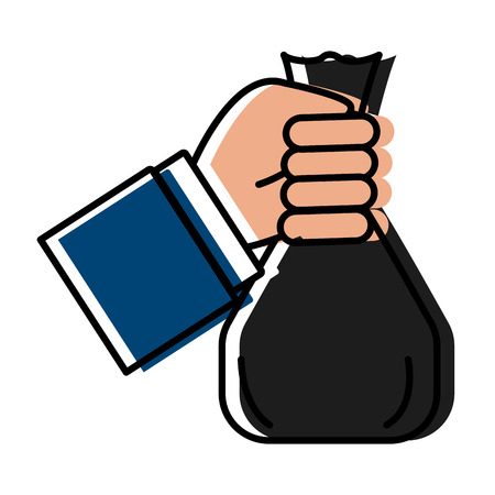 hand with money bag icon vector illustration graphic design