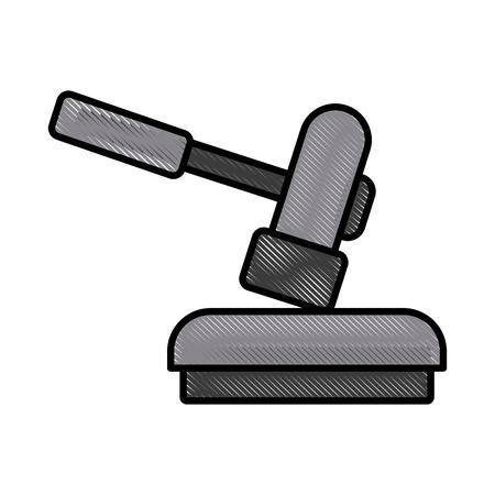Gavel justice symbol icon illustration.