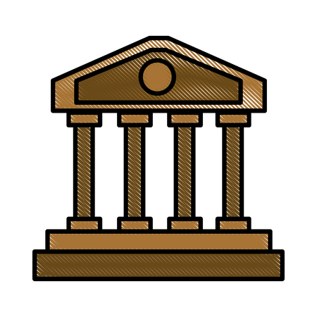 templo romano: Columnas griegas que construyen diseño gráfico del ejemplo del vector del icono