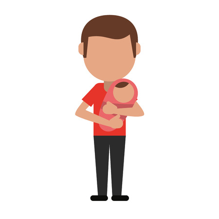 Dad with baby in arms icon vector illustration graphic design