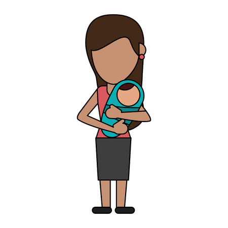 Woman with baby in arms icon vector illustration graphic design