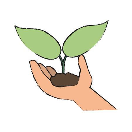 손 아이콘 벡터 일러스트 그래픽 디자인에서 자라는 식물 일러스트