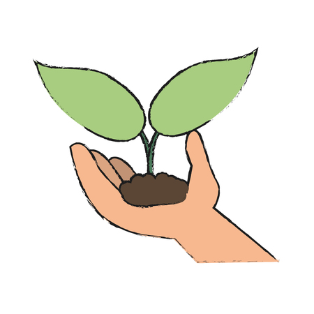 Plant growing in hand icon vector illustration graphic design