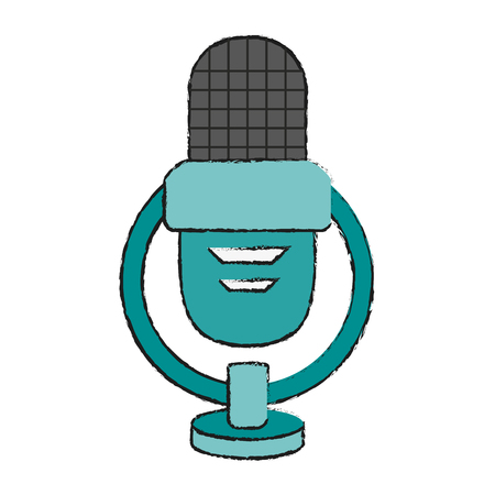 Vintage microphone isolated icon vector illustration graphic design