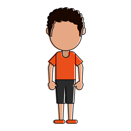 Boy with short pants avatar icon vector illustration graphic design