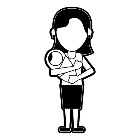 Woman with baby in arms icon.