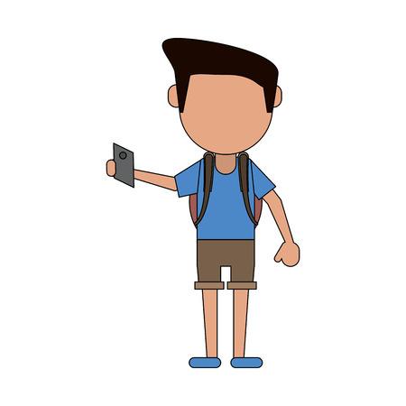 Man with smartphone icon vector illustration graphic design