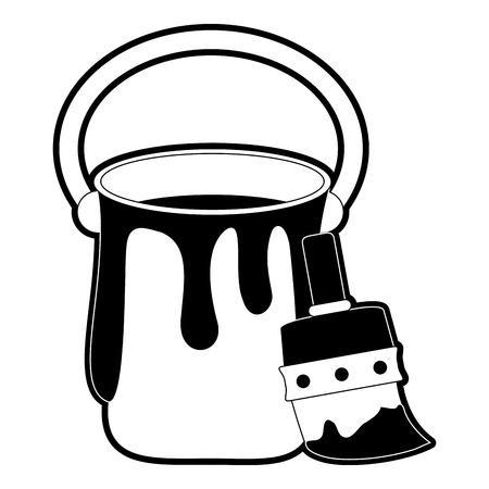 Paint bucket and brush icon vector illustration graphic design Illustration