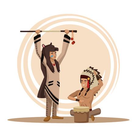 American indians cartoon icon vector illustration graphic design Illustration