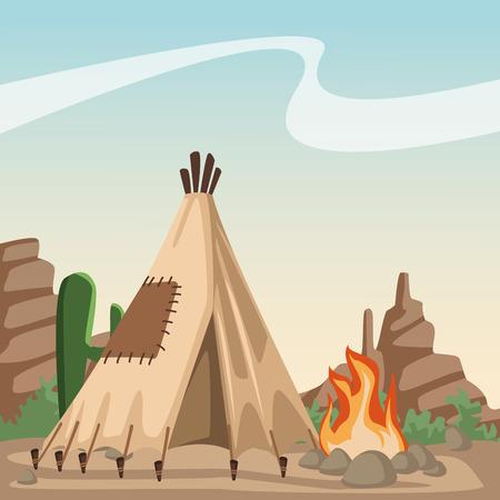 American indian cartoon in desert icon vector illustration graphic design
