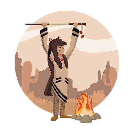 American indian cartoon in round icon icon vector illustration graphic design