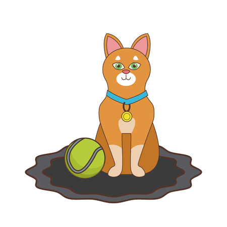 Cute cat with tennis ball icon vector illustratio ngraphic design Vectores