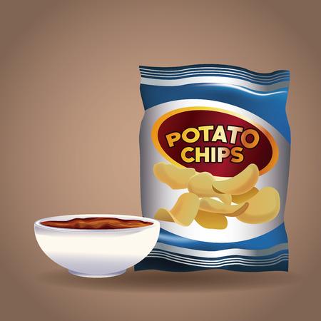 Potato chips snacks icon vector illustration graphic design