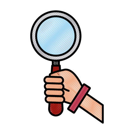 Hand with magnifying glass icon vector illustration graphic design