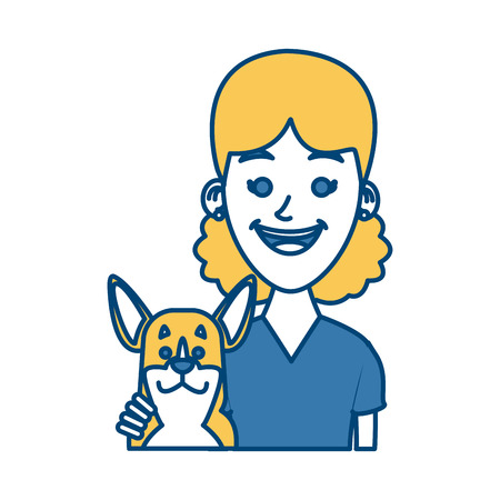 Girl with dog cartoon icon vector illustration graphic design